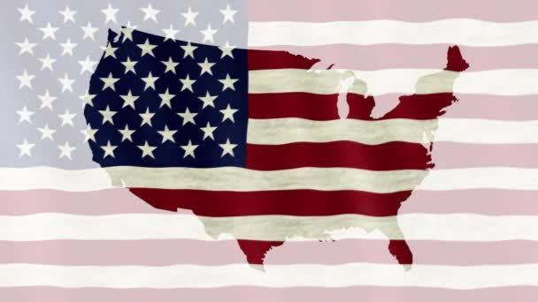 Waving flag of the United States of America overlaid on detailed outline map