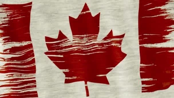 Sanat Fırça Suluboya Resim Kanada Bayrağı Rüzgarda şişmiş Closeup