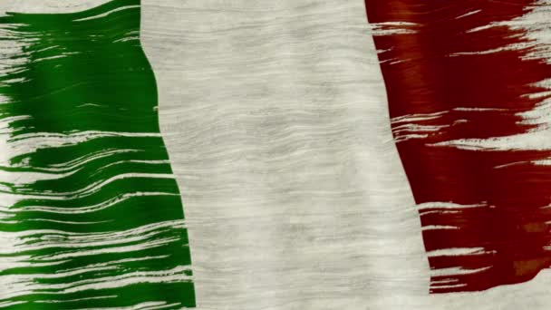 Closeup of art brush watercolor painting Italian flag blown in the wind.