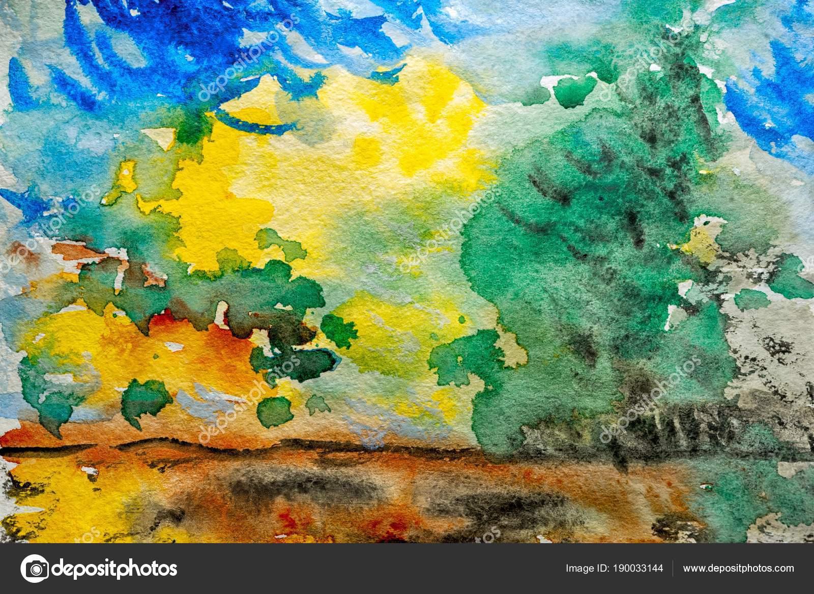 Watercolor Landscape Original Painting Colorful Green Trees Sun ...