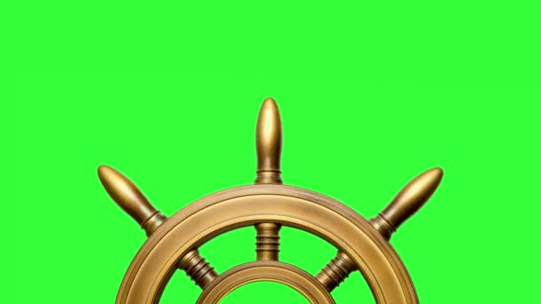 half of old ship vintage, wooden steering wheel isolated on chroma key background turning at the bottom of the screen with copy space at the top.