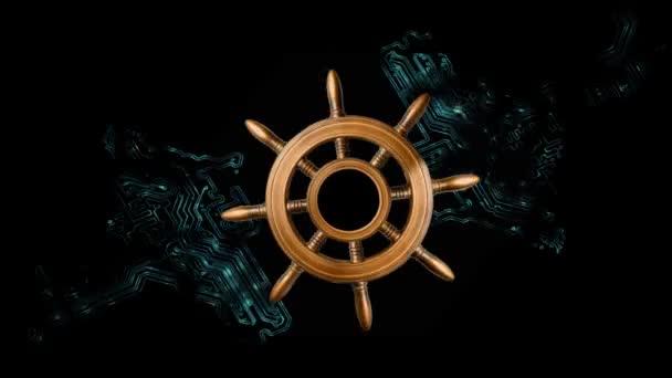 Navigace podle informací technologií moře. Volant se točí na pozadí prvku vzorku základní desky s rozdílným světelné paprsky na černém pozadí s kopií prostor pro váš text