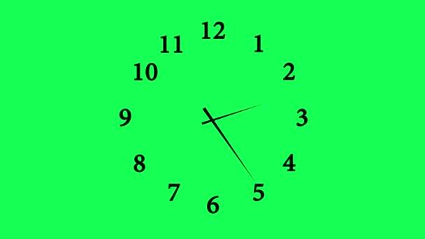 Zeit Zeitraffer Aufnahmen von einer einfachen, traditionellen Büro Wanduhr über einen Zeitraum von 12 Stunden; isoliert gegen eine Chroma Key grüne animierte Uhr 12 Stunden über 30 Sekunden Countdown
