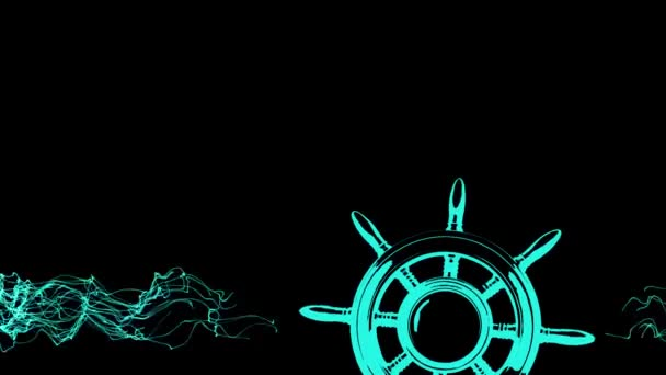 silhouette of the steering wheel revolves among the waves on a black background, animation of the conceptual framework for your main video in the style of travel or education.