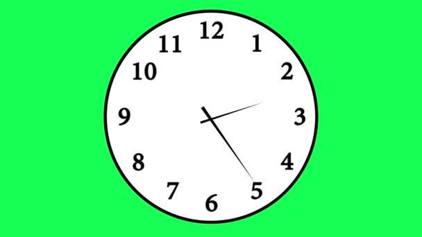 idő telik el felvétel, egy egyszerű, hagyományos irodai falióra fehér óraszámlap 12 órás időszakban; a chroma key zöld animált óra ellen számolás legyőz 12 óra 30 másodpercen keresztül elszigetelt.