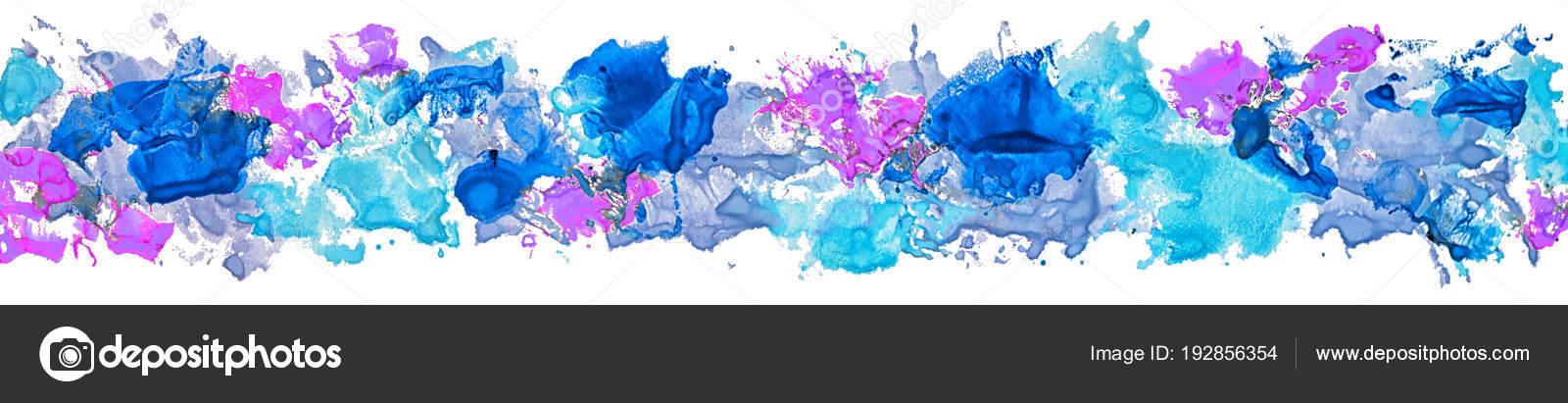Coup Pinceau Tache Peinture Acrylique Frontière Longue Gouache Color