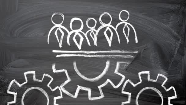 koncepce týmové práce. křídové kreslení na tabuli podnikatelé siluety a otáčení kola níže