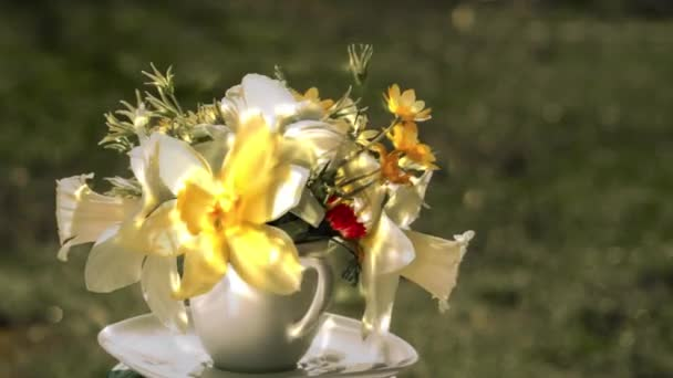 narcissus and wild flowers bouquet and sun reflections in a coffee cup rotating against blurred grass background outdoors, close up side view with copy space for your festive greeting text.