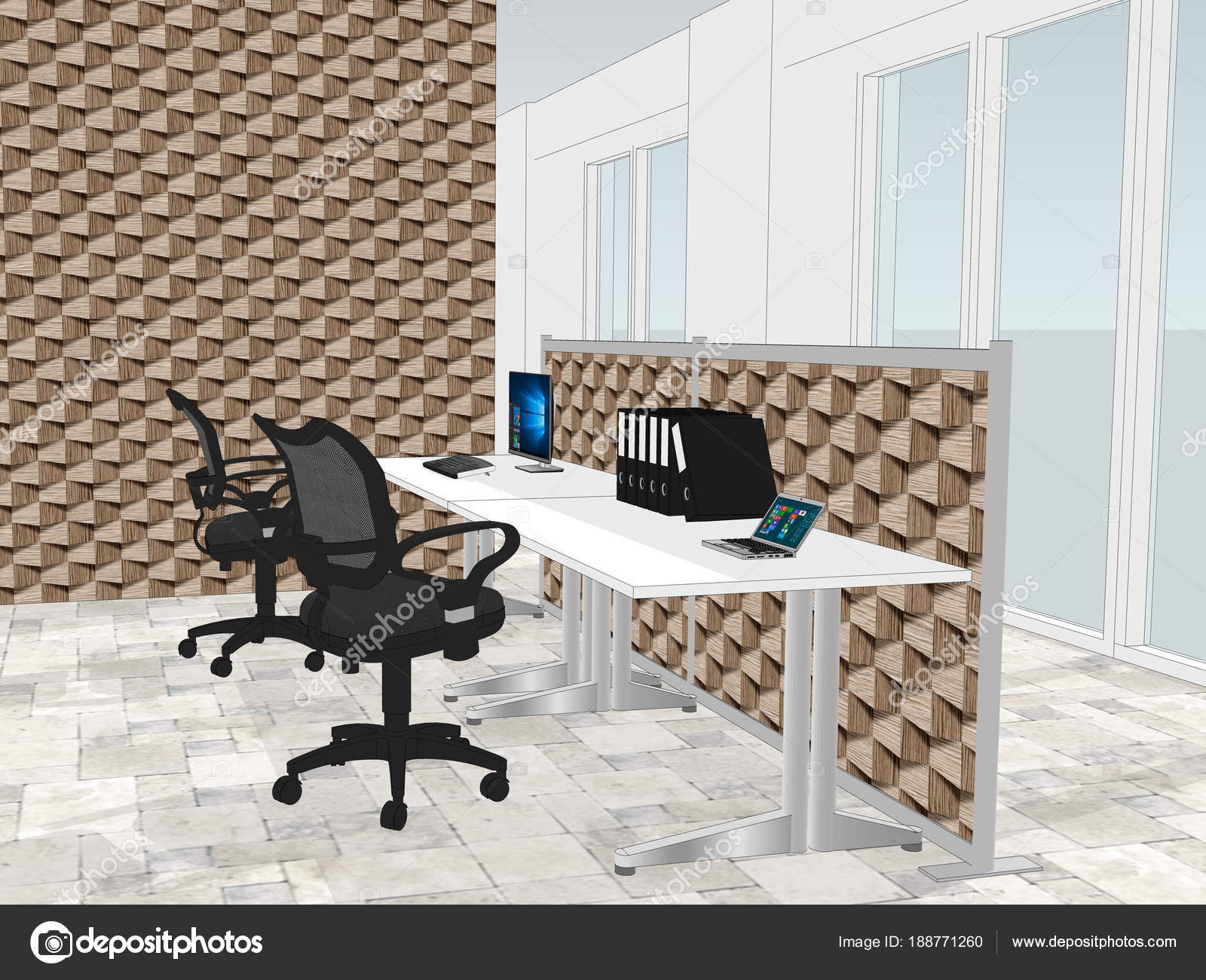 View Of Office Space With A With Decorative Wooden Wallpaper In The  Background U2014 Stock Photo