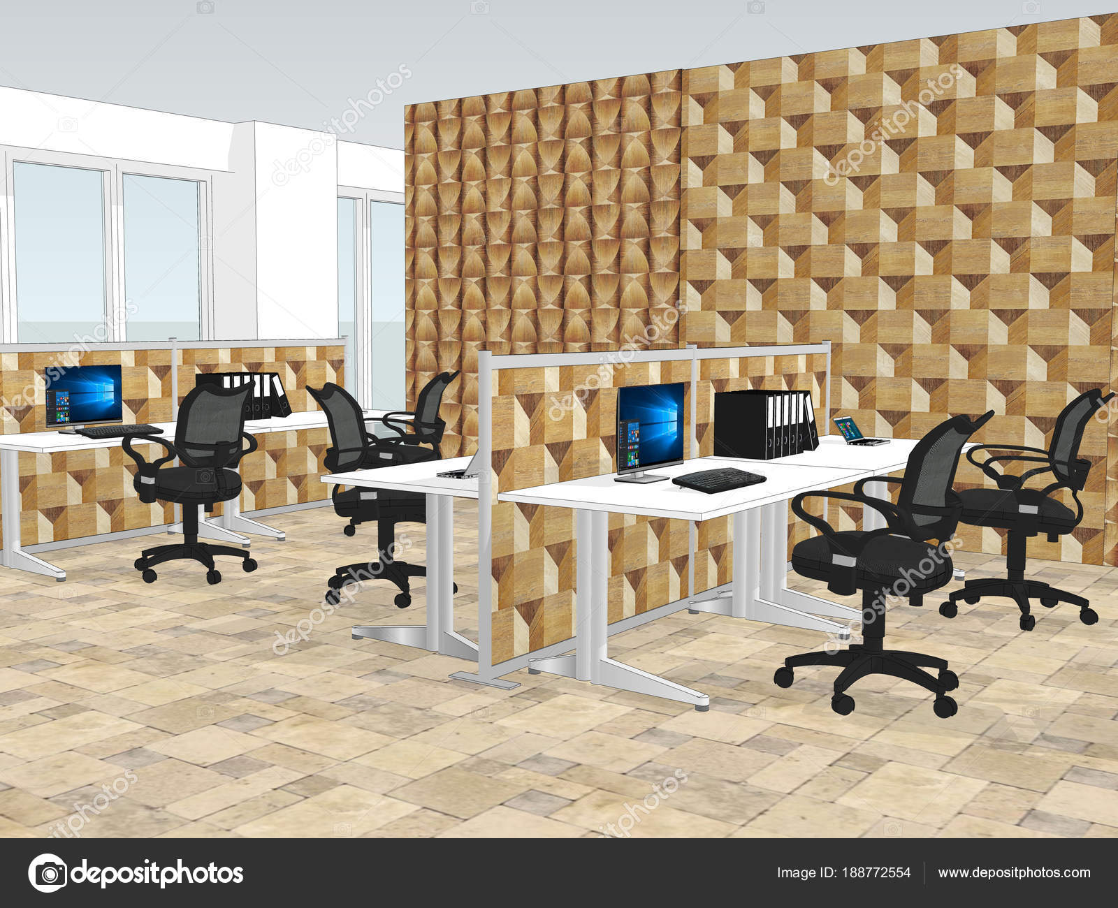 office paneling. View Of Office Space With A Wooden Wall Paneling In The Background \u2014 Stock Photo
