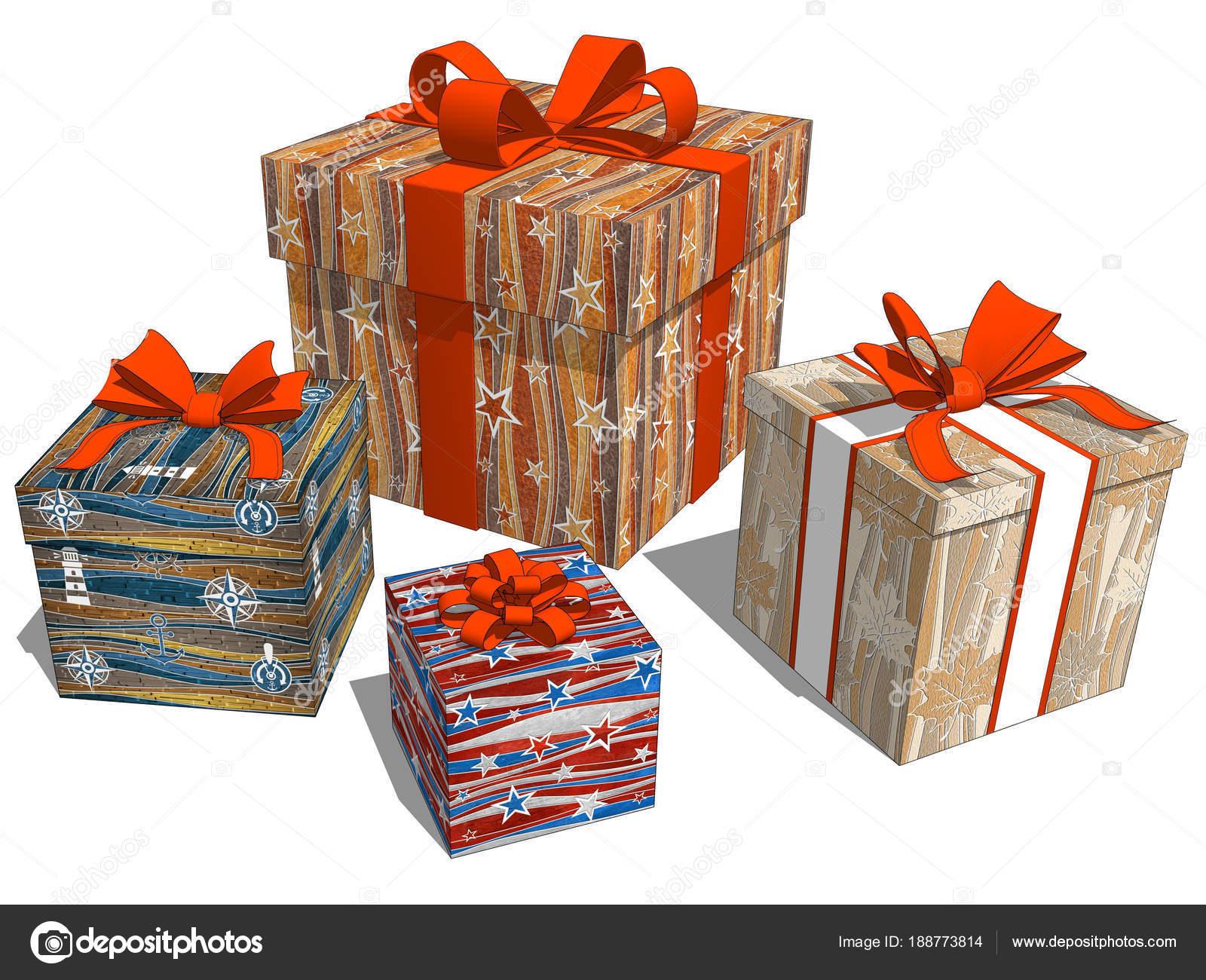 Gruppe-Geschenke mit Stern-Muster für Geburtstag oder ...