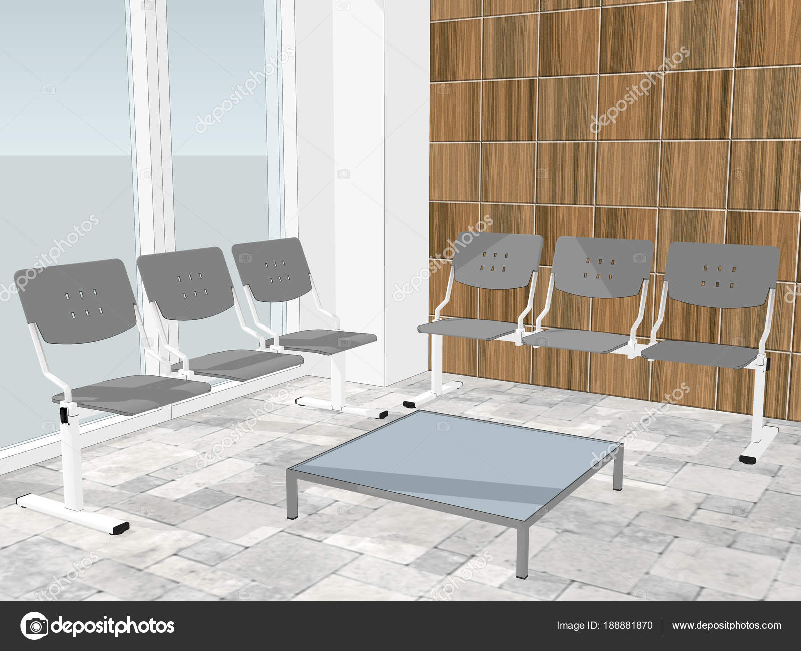 View of waiting room in an office lobby. Wooden wall paneling in the ...