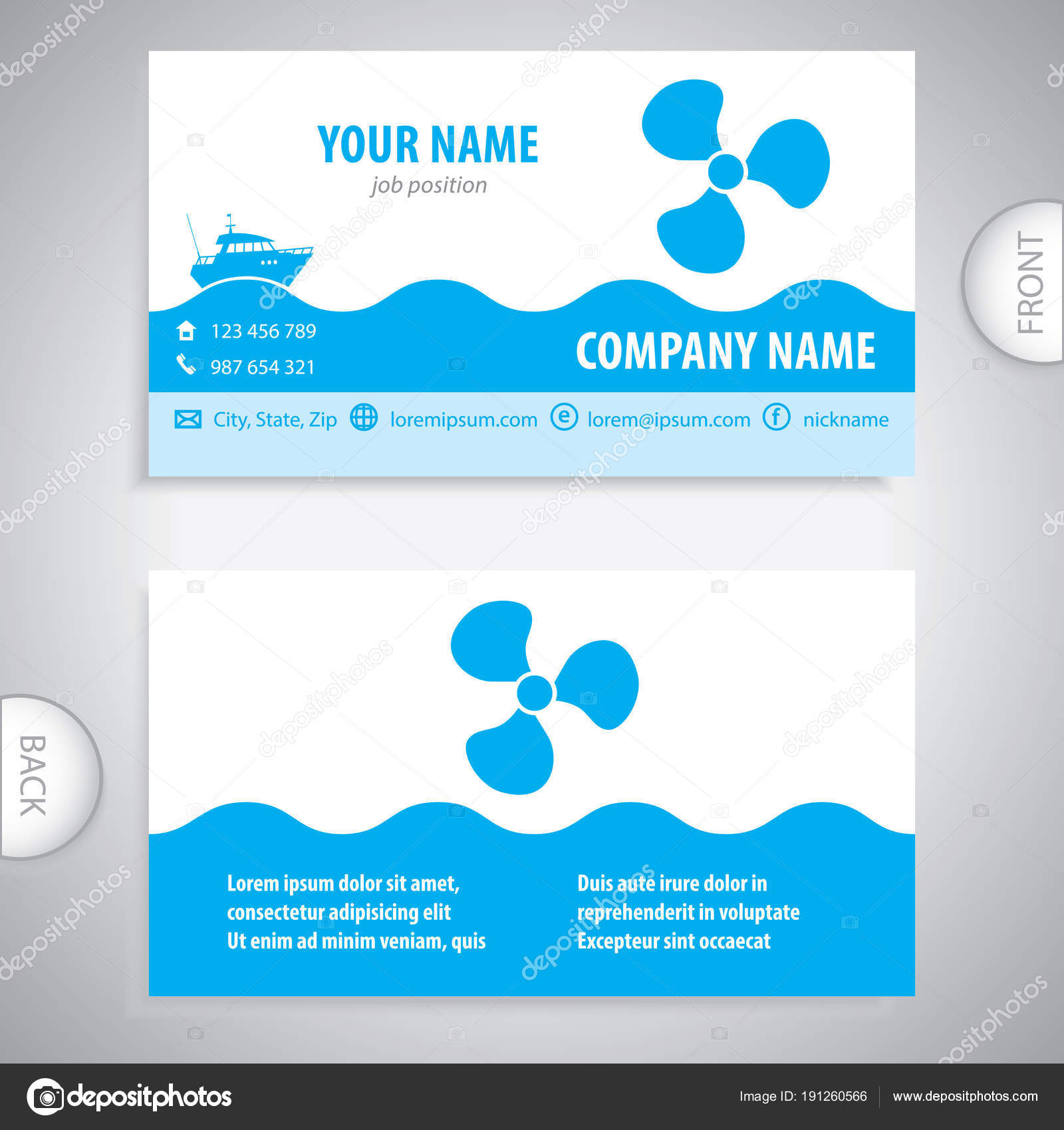 business card - Boat propeller - maritime symbols — Stock Vector ...