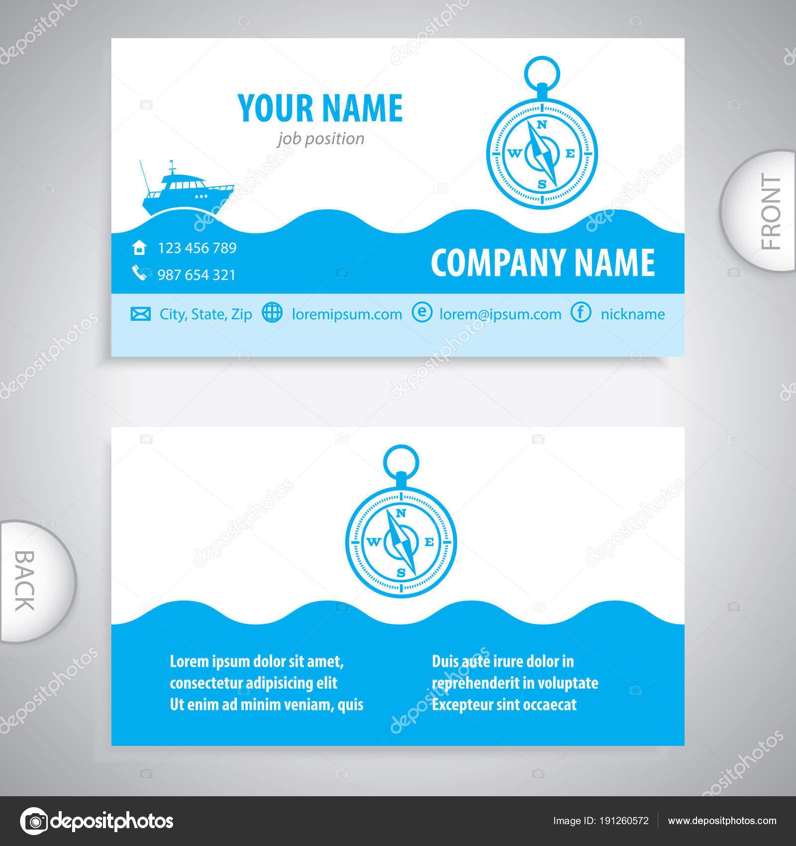Business card navigation compass maritime symbols stock vector business card navigation compass maritime symbols company presentations vector by trompinex reheart Choice Image