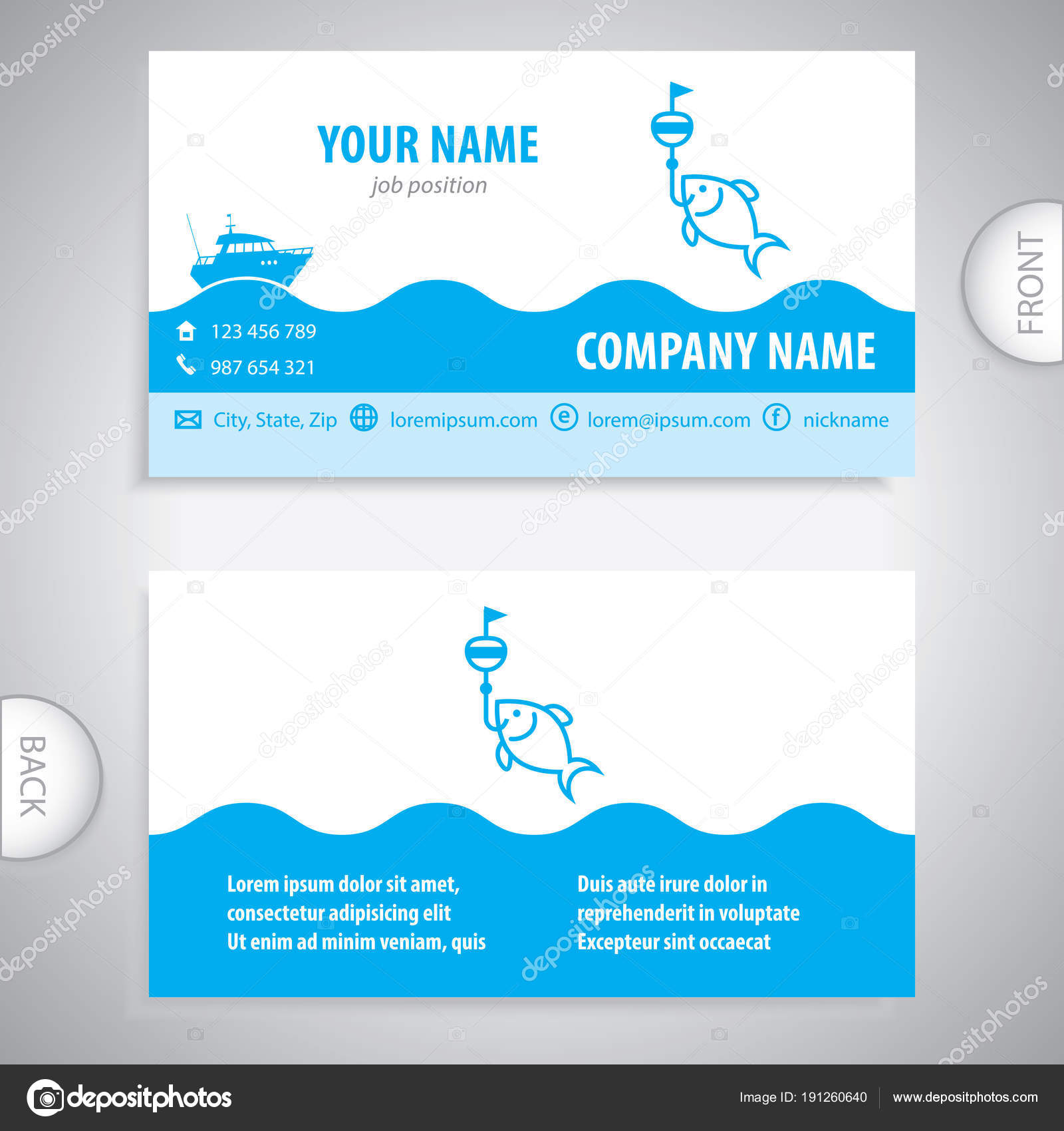 business card - fishing lures - nautical symbol — Stock Vector ...