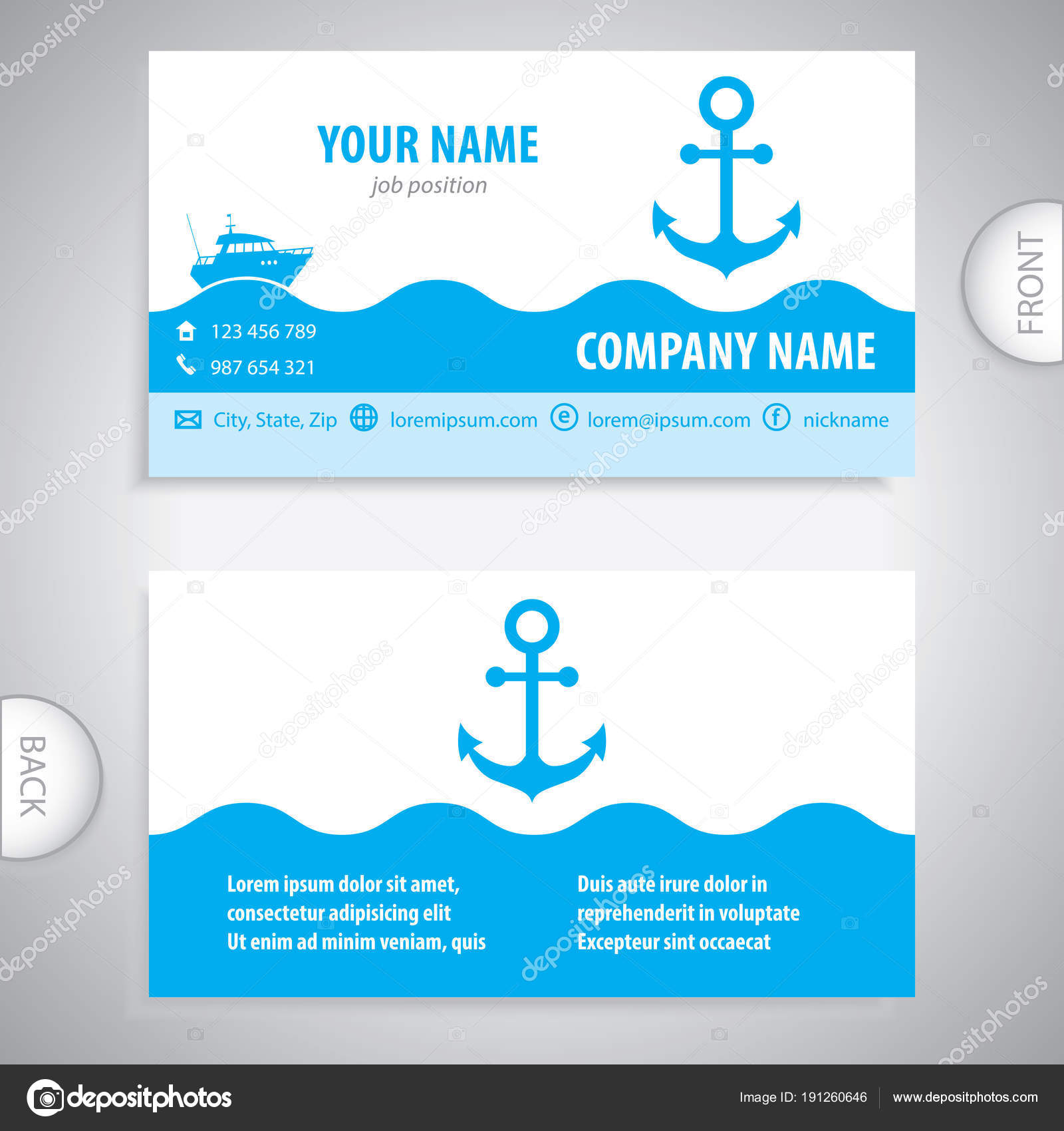 business card - Nautical Anchor - marine Equipment — Stock Vector ...
