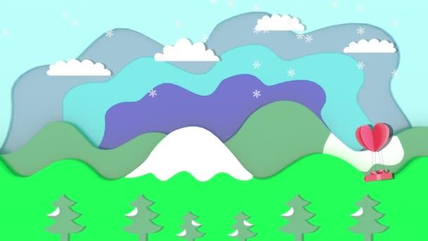 Die Weihnachtsanimation hat Schnee, eine Geschenkbox mit schwimmenden Herzen. Hintergrund ist eine Grafik von Bäumen, Bergen und Himmel.