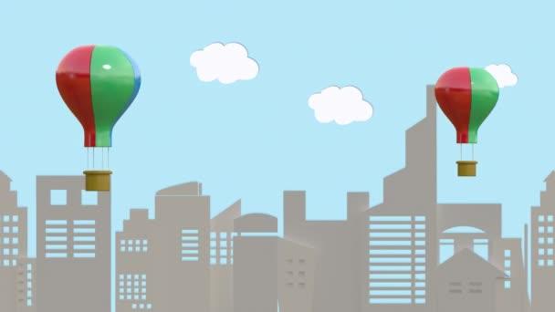 Smyčka animace, balón plave nad velkým městem