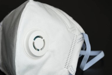 The N95 mask,placed on black background view