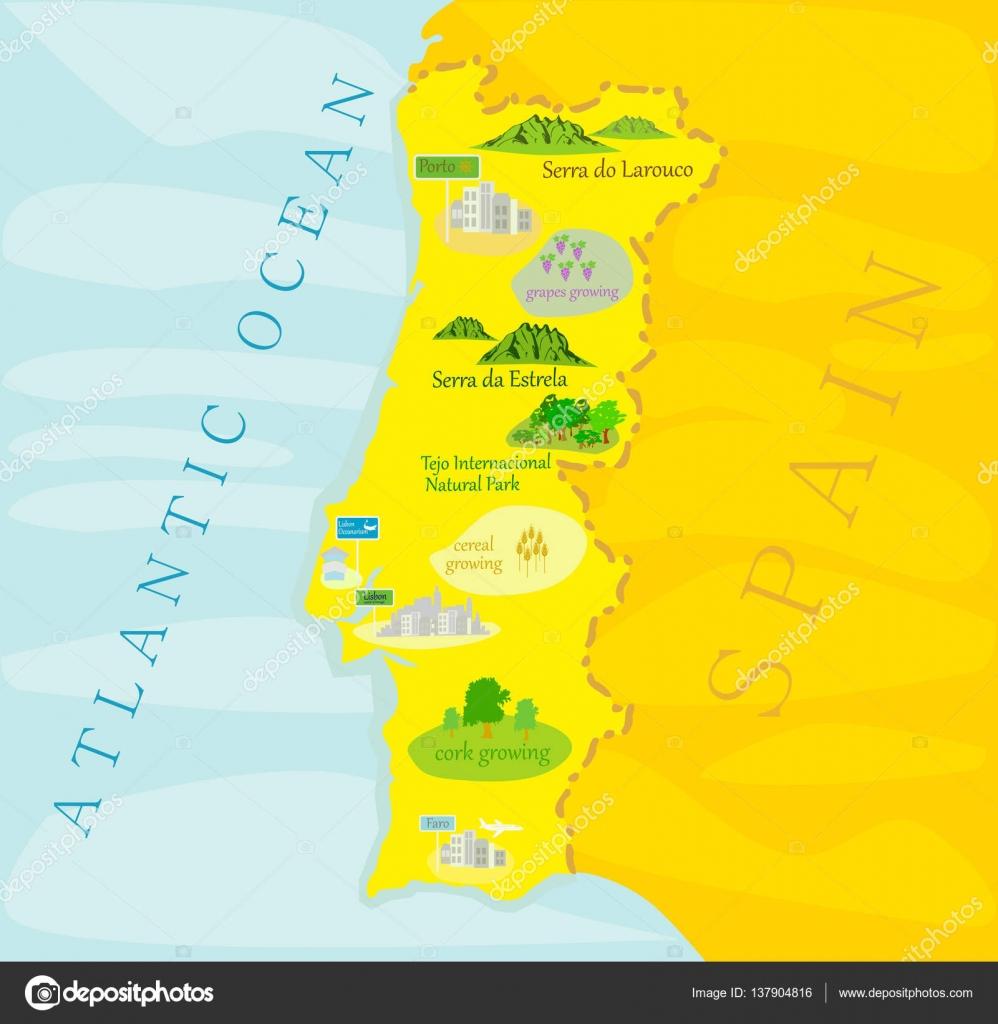 Portugal Retro Map Stock Vector C Lucaso 137904816