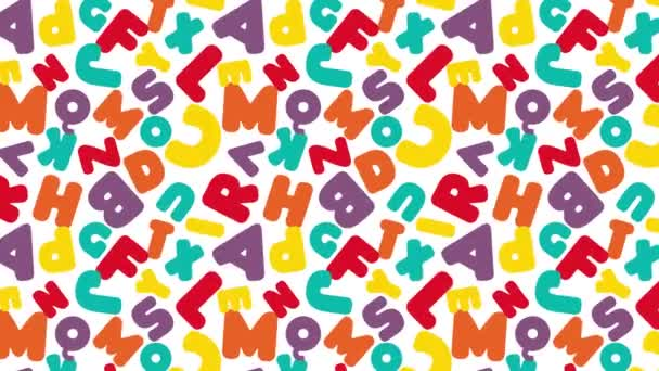 Loop animated colorful english alphabet seamless pattern. Animated kids background. Flat shape motion graphic animation. Stock video footage