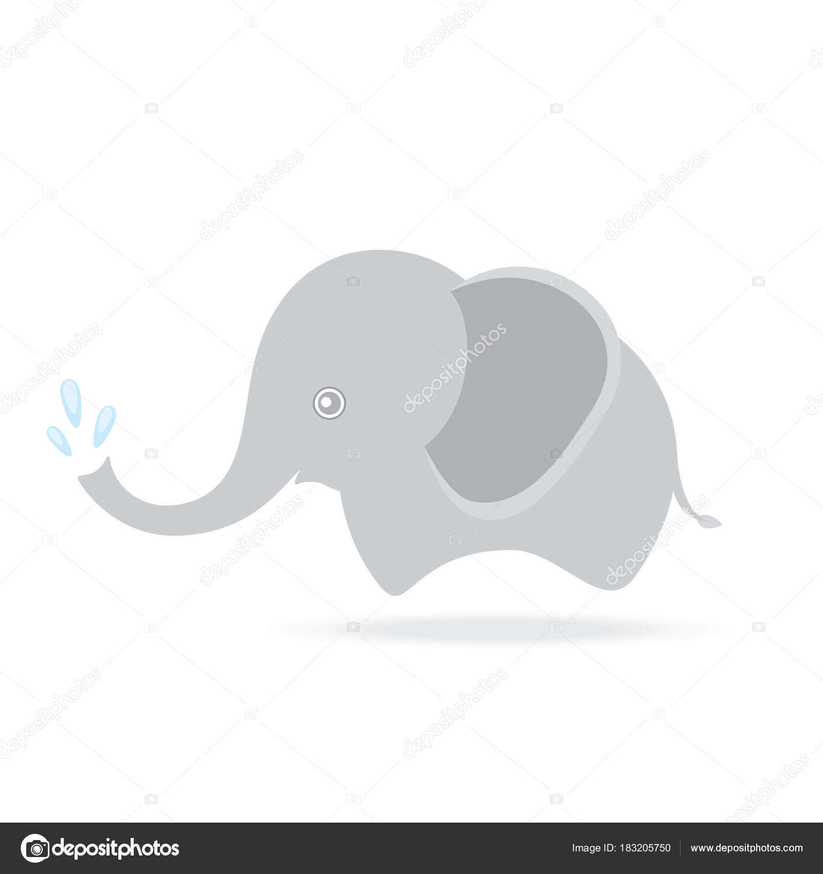 cute elephant spraying water, cartoon drawing thailand — Stock ...