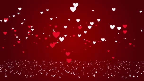 red and white hearts over a red backdrop. Valentines day motion background. flying hearts animation.