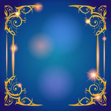 golden frame on blue background