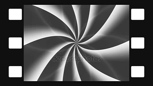 Animált forgó film szimulált keret fekete-fehér spirál elvont illusztrációja. Fekete-fehér animációs, varrat nélküli hurok.