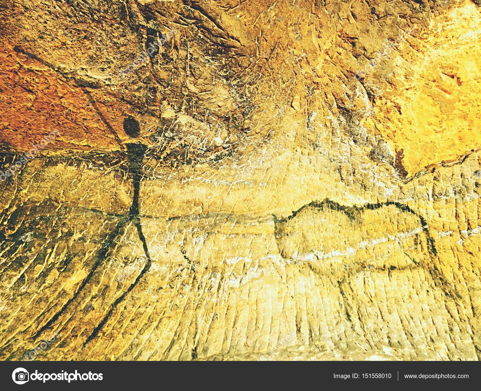 Paint of human hunting on sandstone wall, prehistoric picture. Black ...