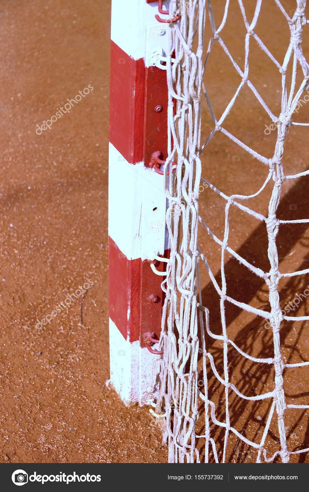 Detail der Tor-Rahmen. Spielplatz im Freien Fußball oder Handball ...