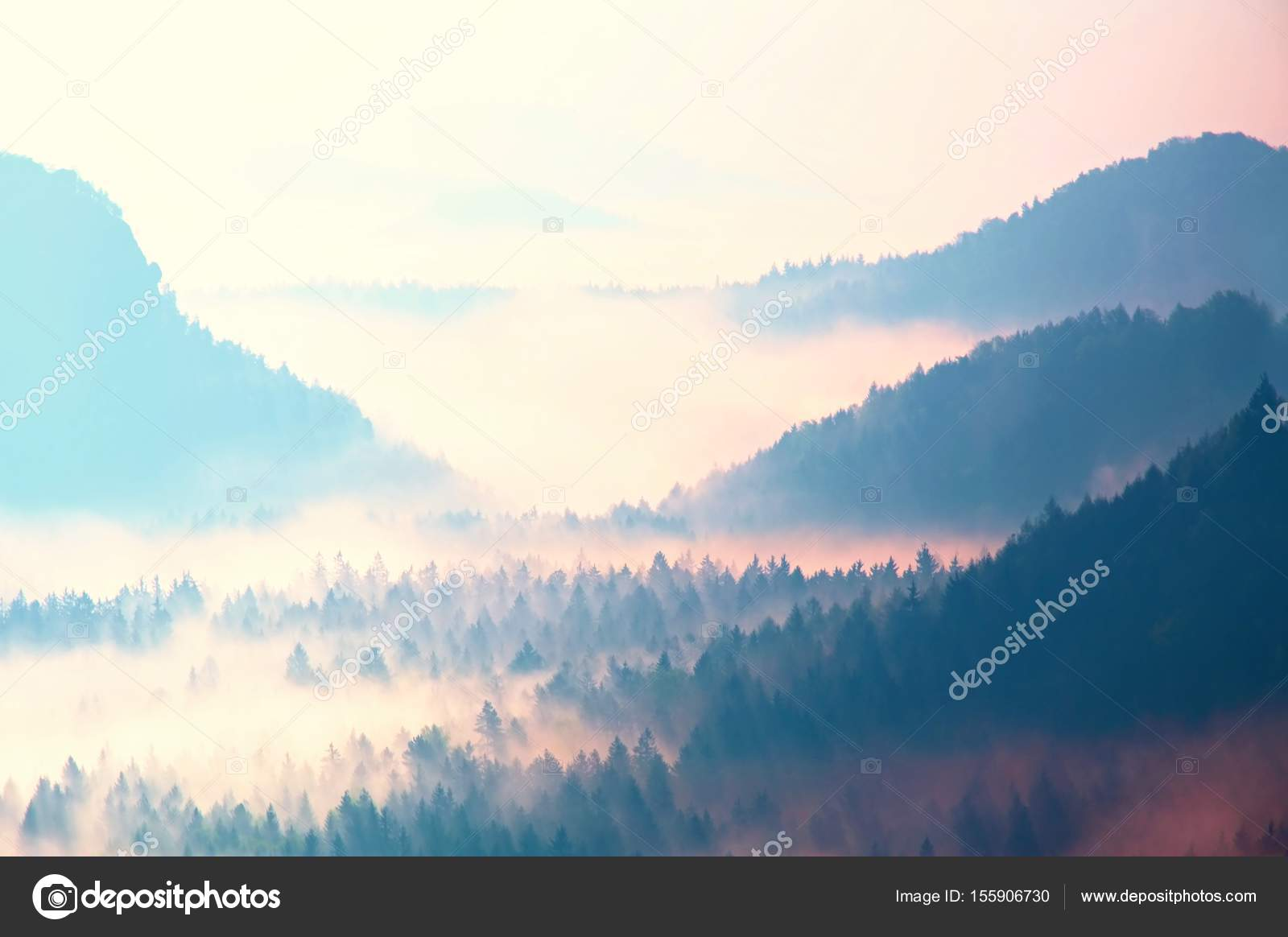 Beginning Of Spring Fantastic Dreamy Sunrise Above Deep Valley