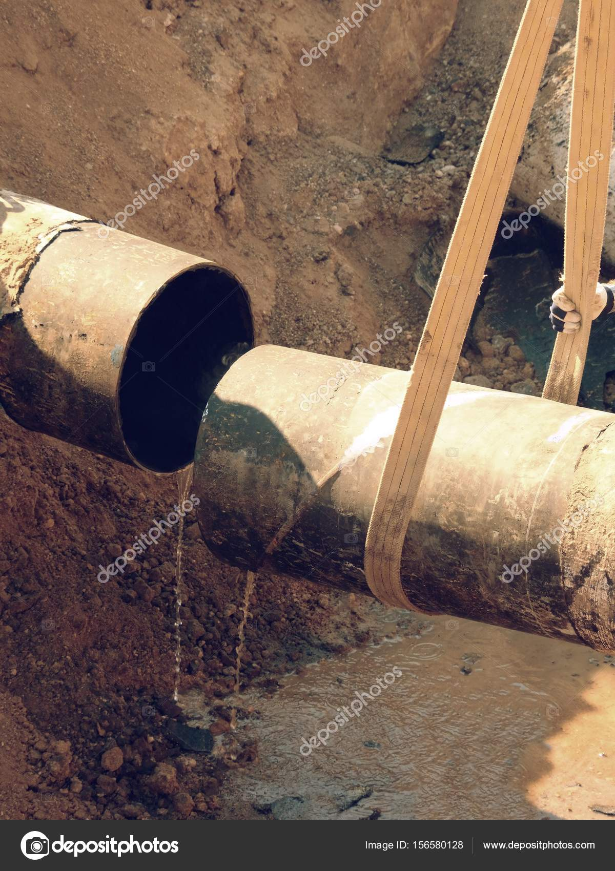 Rusty Old Iron Pipe With Clear Water Flowing From It. Waste water drain pipe u2014 & Rusty Old Iron Pipe With Clear Water Flowing From It. Waste water ...