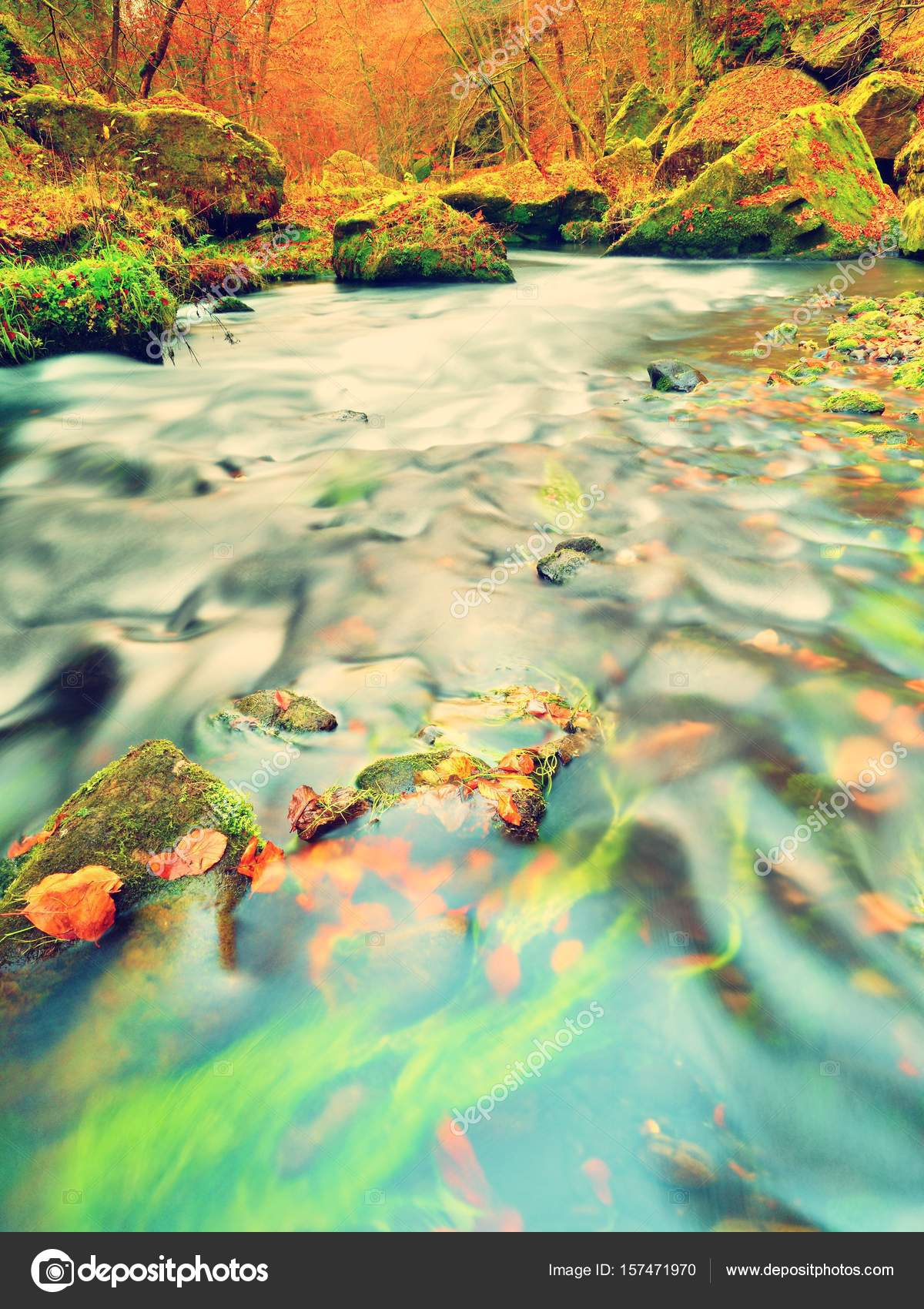 Fall in nature. Colors of autumn mountain river. Colorful gravel ...