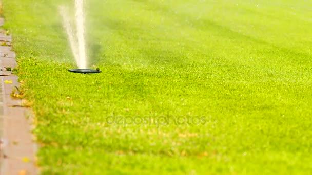 Fotbal nebo fotbal pole zavlažovací systém automatického zavlažování trávníku. Zalévání je fotbalové hřiště, červeným gumovým závodech ve venkovní stadion