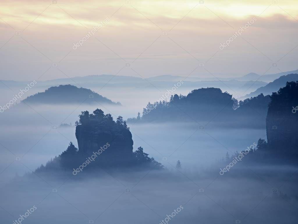 Фотообои Misty view into beautiful valley of Saxony Switzerland. Sandstone peaks increased from heavy fog.