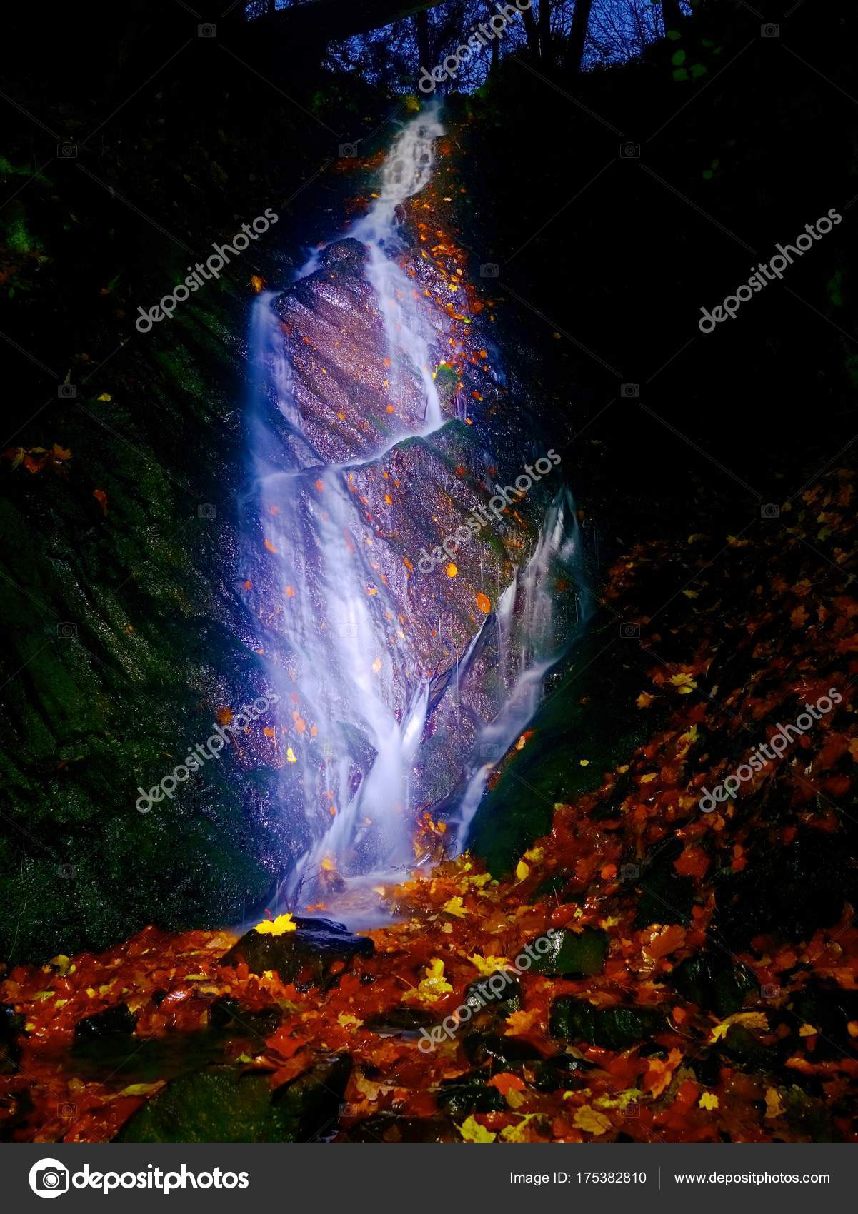 Light painting in night waterfall white waterfall on mountain light painting in night waterfall white waterfall on mountain stream blurred foamy water aloadofball Image collections