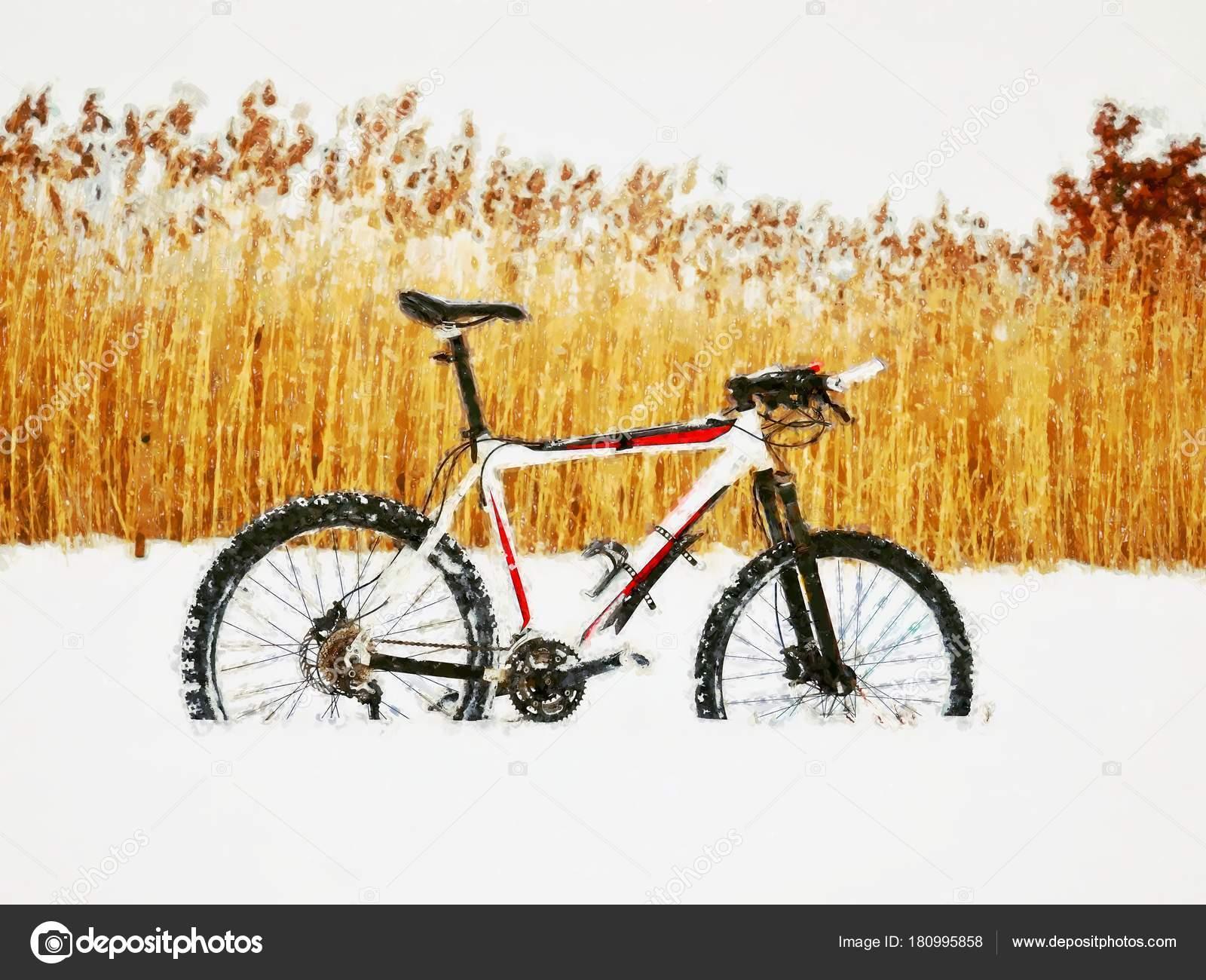 Yağlı Boya Dağ Bisikleti Karda Kal Derin Rüzgârla Oluşan Kar