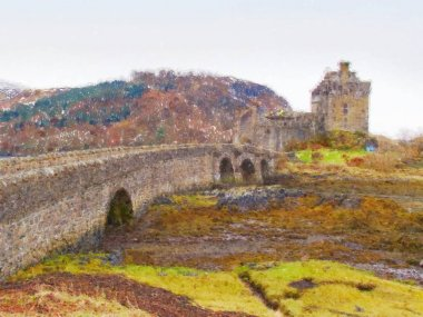 Oil painting. Eilean Donan Castle, Scotland. The stony bridge over of water