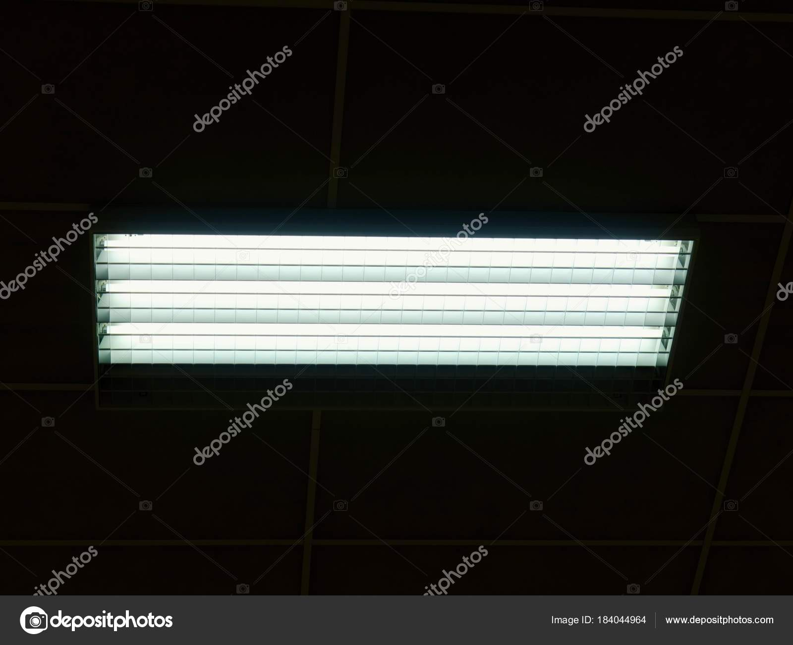 Lighted panel of mercury fluorescent lamp tubes lights system in lighted panel of mercury fluorescent lamp tubes lights system in line on ceiling stock aloadofball Image collections