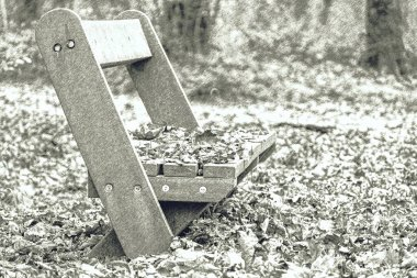 Empty wooden bench in autumn public park. The earth around and the surface of the bench are littered with fallen leaves. Autumn and Public park concept. Dashed pencil sketch effect.