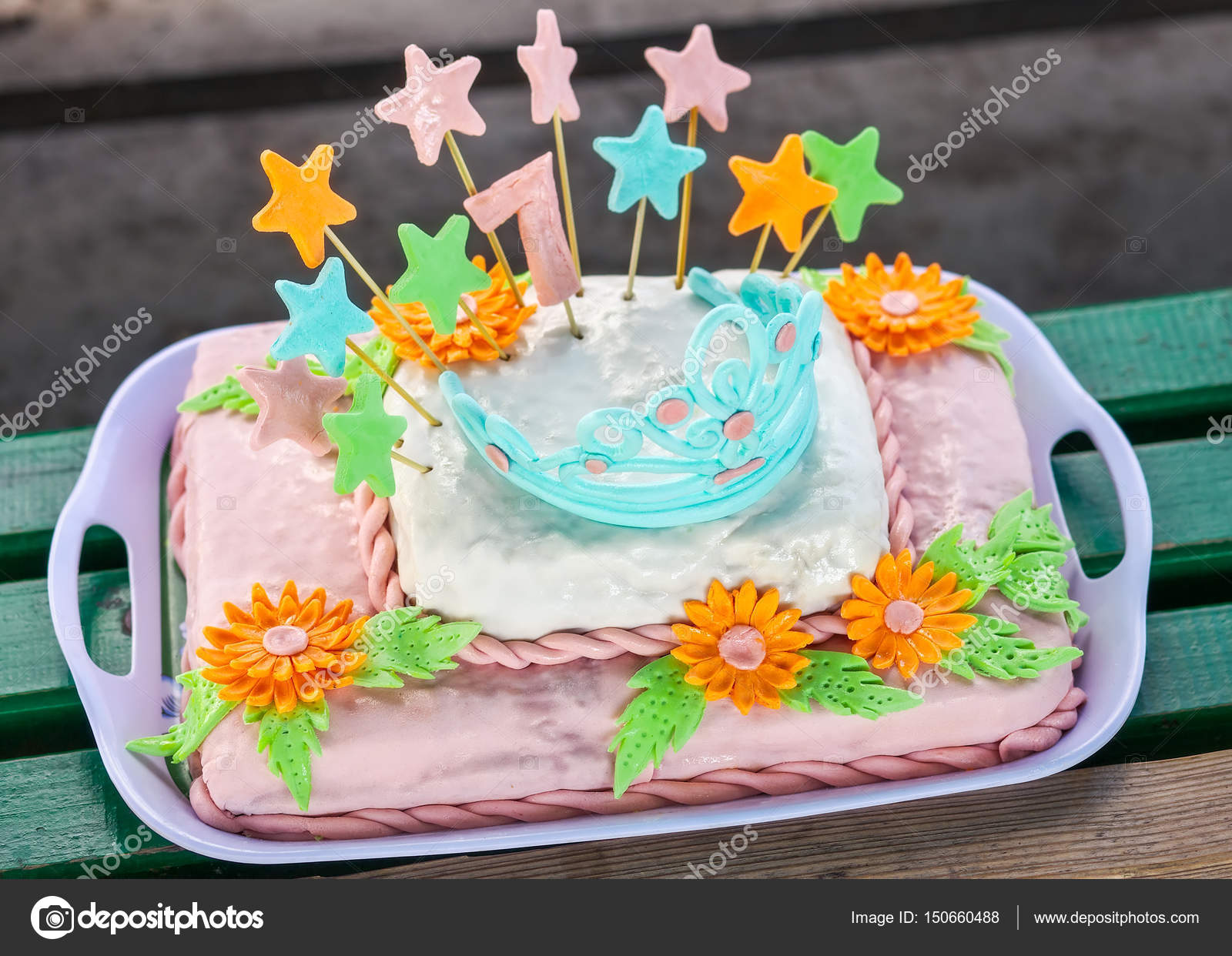 Birthday Cake With Colorful Flowers Stars And Diadem Stock Photo
