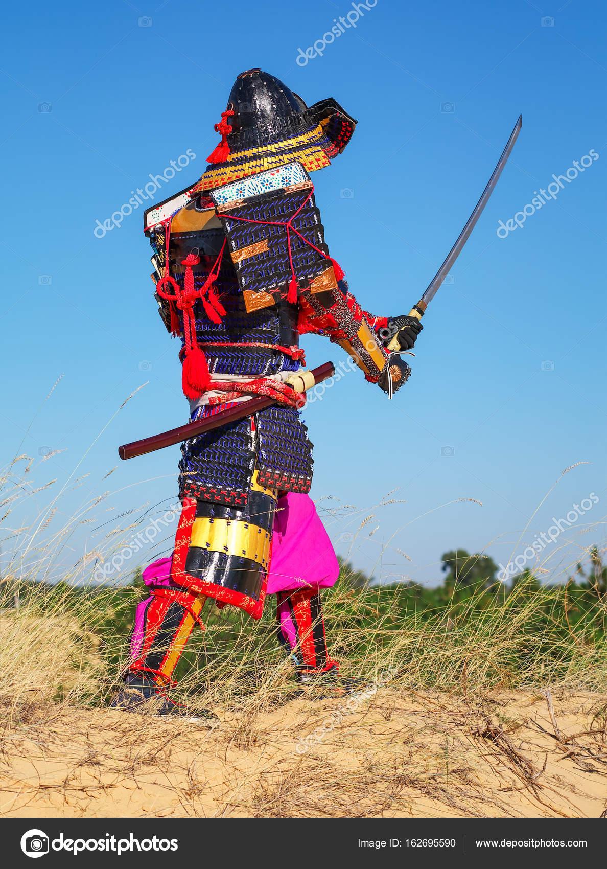 Men In Samurai Armour With Sword Original Character Stock Photo