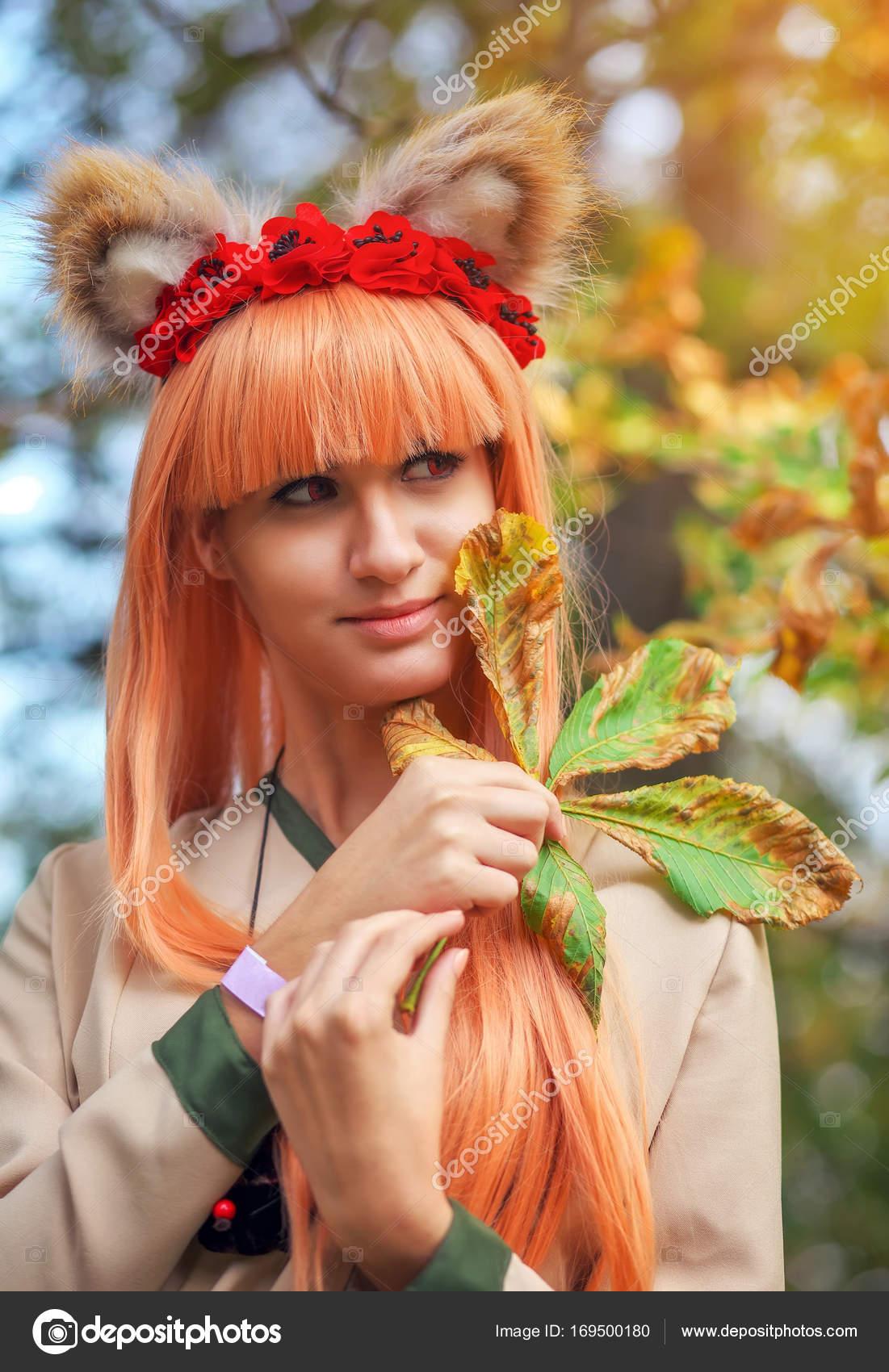 Wolf Girl Cosplay Zeichen Im Herbst Park Anime Festival Stockfoto