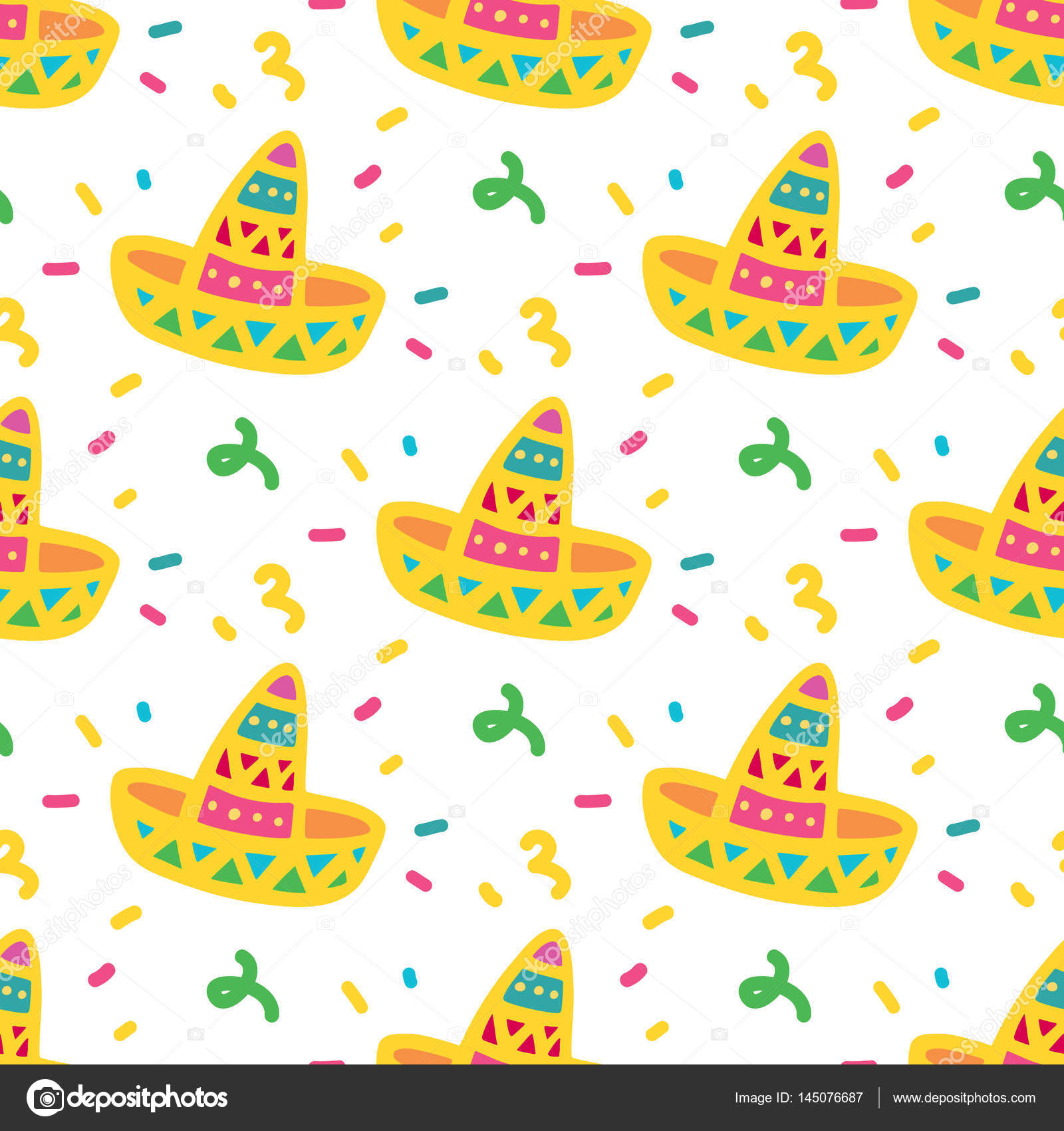 Bright colorful seamless pattern with a Mexican hat - sombrero.– stock  illustration 31c054118e4