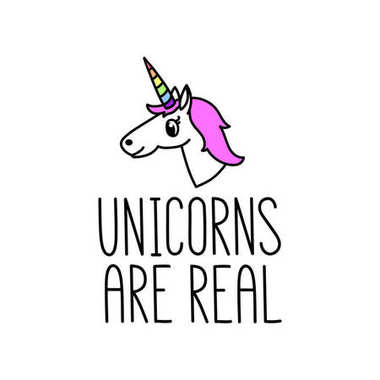 Unicorns are real. The quote hand-drawing of black ink.