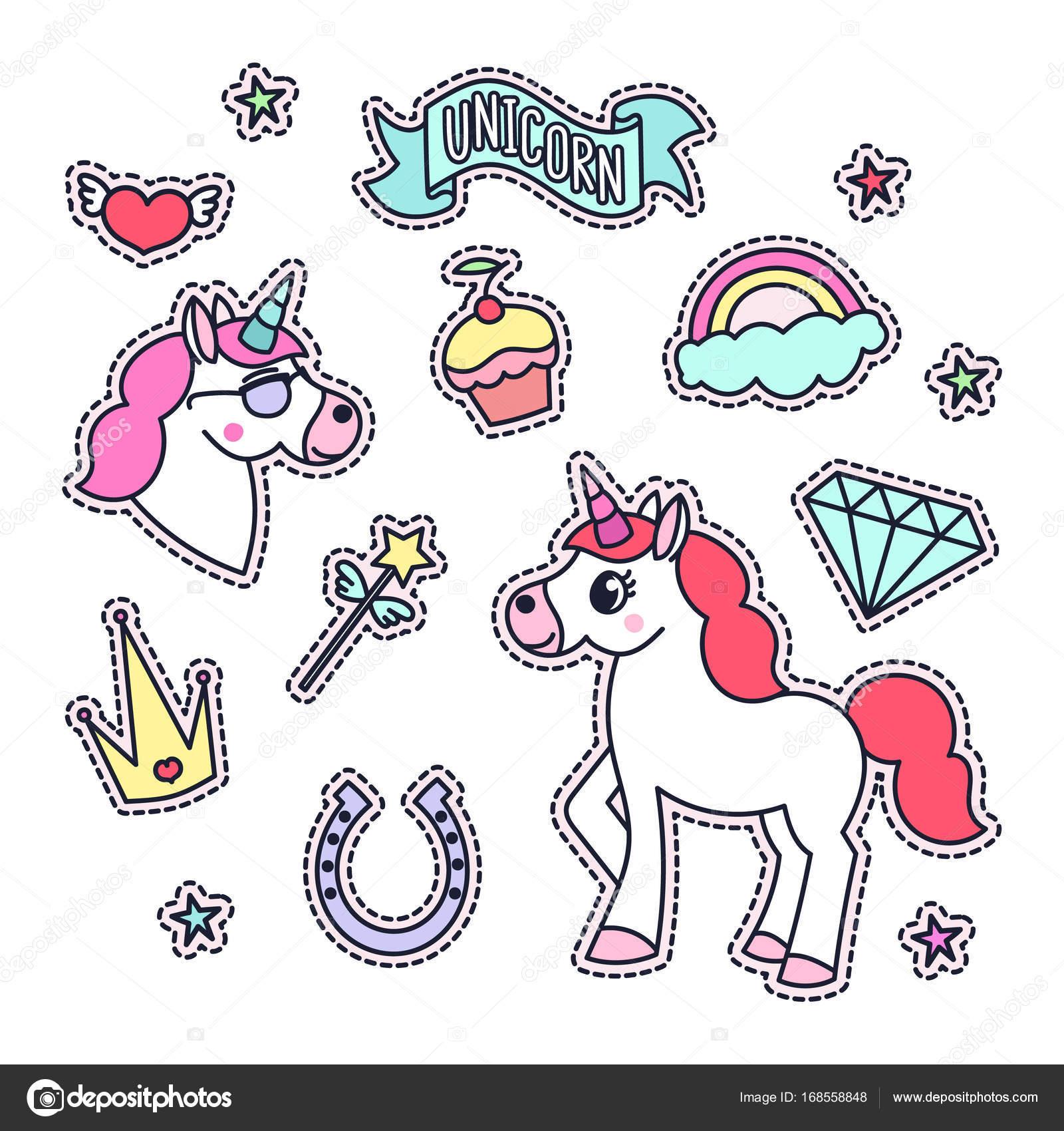 Pack de pegatinas de moda con Unicornio mágico, estrellas, diamante ...