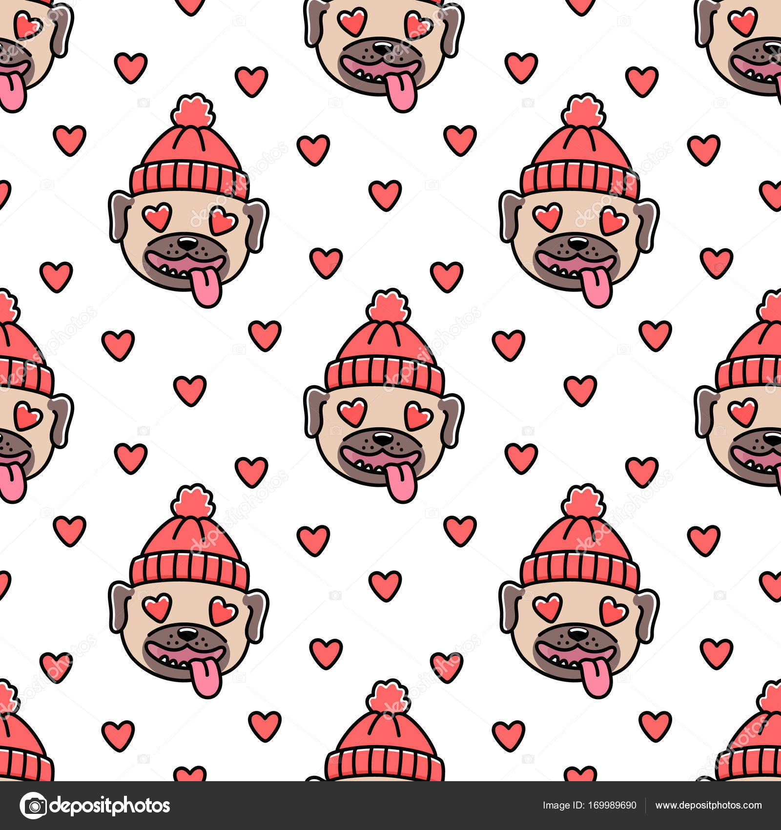 Cute seamless pattern with dog breed pug in red knitted hat, with ...