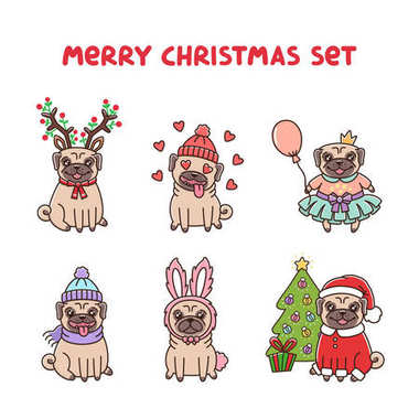 Set cute pug dogs in costume for Merry Christmas.