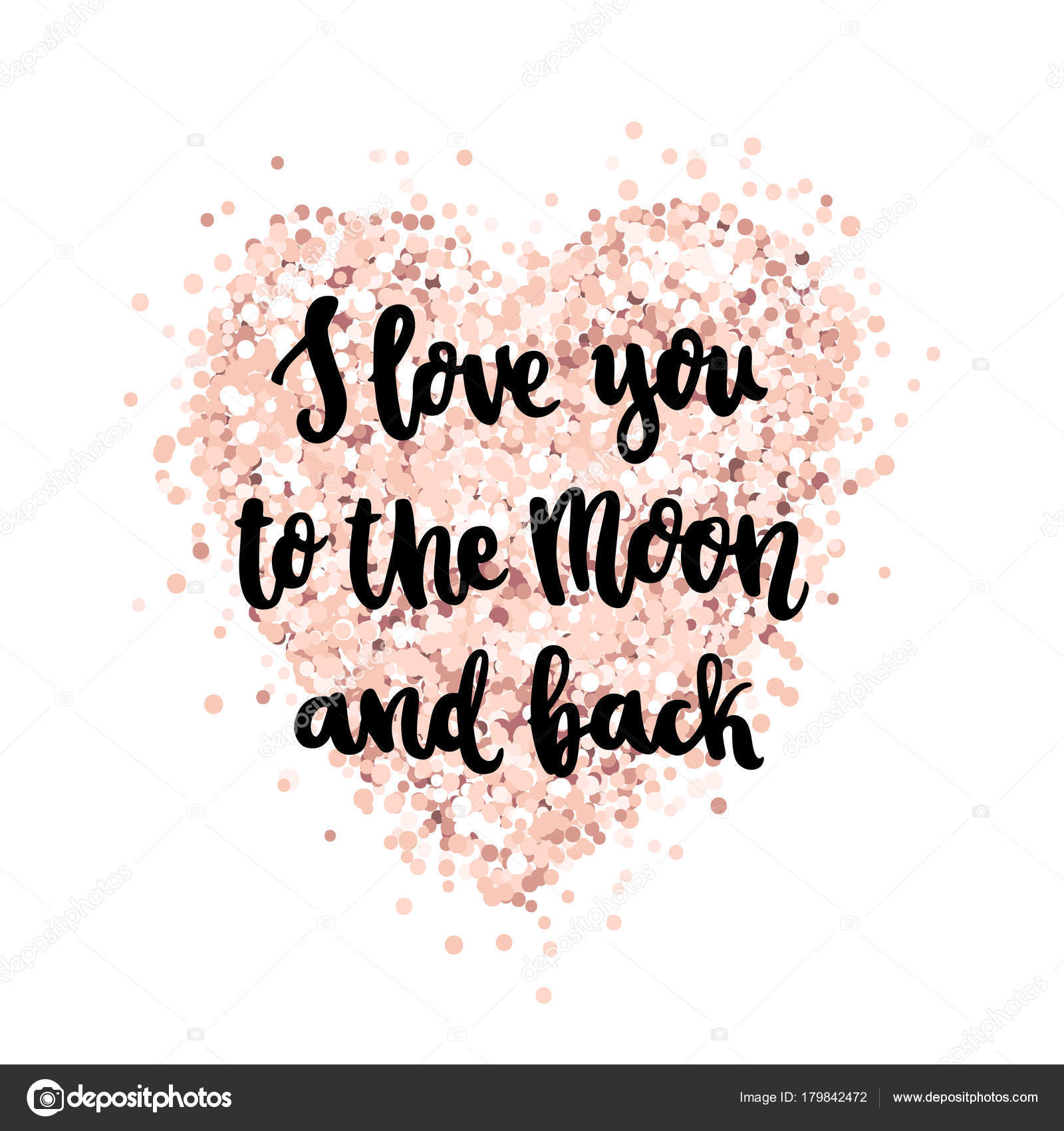 Hand Drawing Quote Love You Moon Back Trendy Calligraphic Style